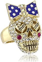 "Betsey Johnson ""Ivy League"" Crystal Stretch Ring, Size 7.5"