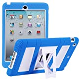 iPad Mini 3 Case, i-Blason ArmorBox Stand Series For Apple iPad Mini, iPad Mini with Retina Display 7.9 Inch 2 Layer Convertible Hybrid Kids Friendly Protection Kick Stand Case (Multi Color) - Blue / White