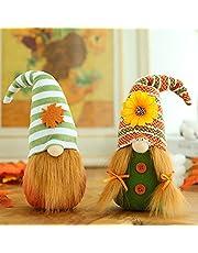 Plush Gnome Thanksgiving Decor Ornaments Handmade Swedish Tomte Gnome Plush Doll Maple Leaf Sunflower Halloween Decoration for Table Display Set of 2