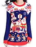 v28 Ugly Christmas Sweater, Women Feather Knit Xmas Reindeer Pullover Sweater(Small, Model A- Nightblue)