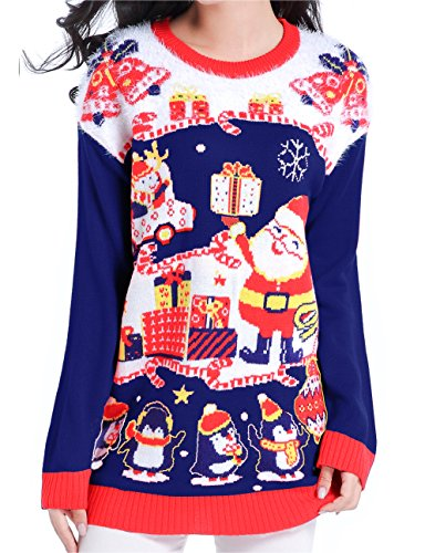 v28 Ugly Christmas Sweater, Women Feather Knit Xmas Reindeer Pullover Sweater(Small, Model A- Nightblue) by v28
