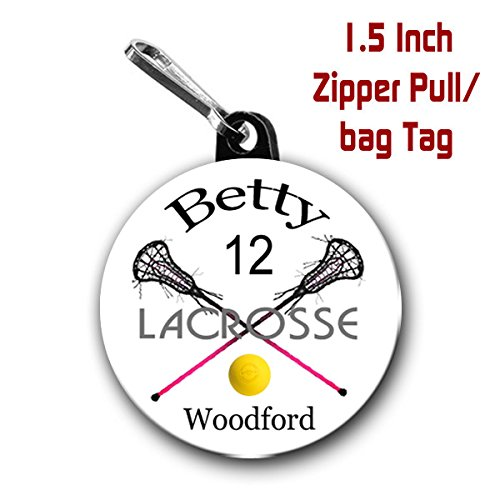 Umber Pull (Lacrosse zipper pull/bag tags two 1.5 inch charms personalized with name, umber, team name)