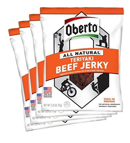 Oberto All-Natural Teriyaki Beef Jerky, 3.25 Ounce (Pack of 4)