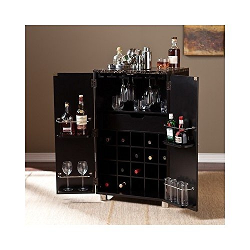 Liquor Bar Cabinet with Wine Storage Marbleized Counter Wood Furniture