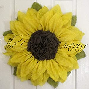 Bright Yellow Burlap Sunflower Wreath by The Crafty WineauxTM 91