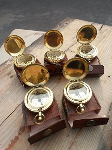 LOT OF 5-PCS VINTAGE BRASS PUSH BUTTON ANTIQUE POCKET COMPASS W/ LEATHER-BOX from Max Engineering Enterprises