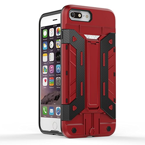 iPhone 7 Plus Hülle, Moonmini® Rot Hanyhülle Dual Layer Armor Case Brieftasche Card Holder Handyhülle Drop Resistance Schutzhülle mit Standfunktion für iPhone 7 Plus