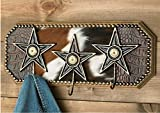 Beautiful & Rustic Buckshot Accent Wood & Cowhide Star Hook Key Coat Hat Rack