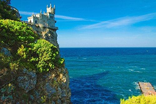 Cliff top castle swallows nest crimea  - Nature Poster Canva