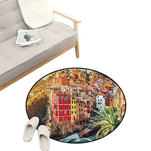 - Italy Round Rug ,Riomaggiore at Sunset Cinque Terre National Park Cliff and Coast Scenic Panorama, Flannel Microfiber Non-Slip Soft Absorbent 39