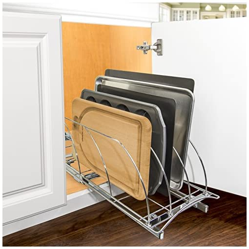 Kitchen Lynk Professional Slide Out Organizer Pull Out Kitchen Cabinet Rack, 10w x 21d x 9.6h -inch, Chrome & Organizer Pull Out… pull-out organizers