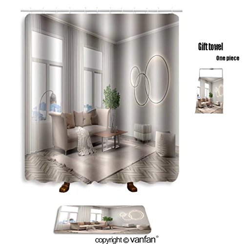 Vanfan Bath Sets With Polyester Rugs And Shower Curtain Interior Sofa D Illustration 462780697