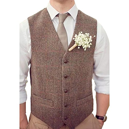 Dressydances Men's Brown Tweed Vests Wool Herringbone British Style Slim Fit Blazer Wedding Suits (M) by Dressydances