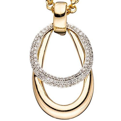 JOBO pendentif pour femme en or jaune 585 et or blanc/bicolore 87 diamants brillants