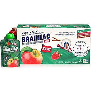 Brainiac Kids Omega-3 Applesauce Pouches, Variety Pack, 3.2 Oz (10 Pack) - Supercharge Kids Developing Brains with Omega-3s & Choline - Pediatrician Approved - No Added Sugar or Artificial Flavors