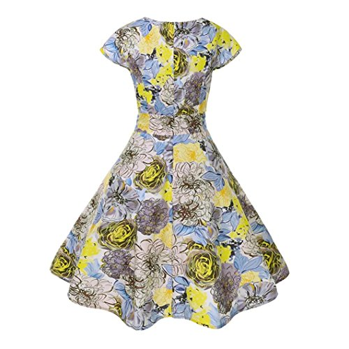 Huhu833 50s Retro Vintage Kleid Blumen Drucken Kurzarm Casual Retro ...