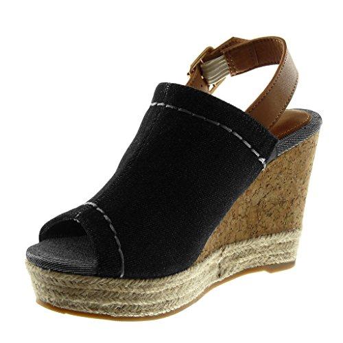 10 Angkorly caviglia zeppa Cinturino con Moda alla Nero Cm Sughero Piattaforma a 5 intrecciata Corda punta Sandali Donna aperta Pantofole aPqgra