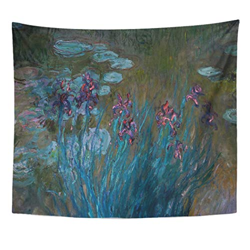 Semtomn Tapestry Artwork Wall Hanging Blue Monet Irises Water Lilies Purple Claude Fine Famous 50x60 Inches Tapestries Mattress Tablecloth Curtain Home Decor Print ()
