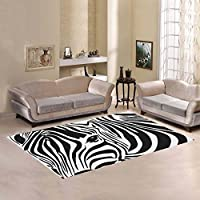 Custom Zebra Skin Print Area Rugs Carpet 7 x 5 Feet, Black and White Stripes Modern Carpet Floor Rugs Mat for Children Kids Home Living Dining Room Playroom Decoration