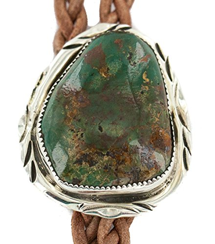 $350 Retail Tag Handmade Authentic Silver Navajo Natural Turquoise Native American Bolo Tie
