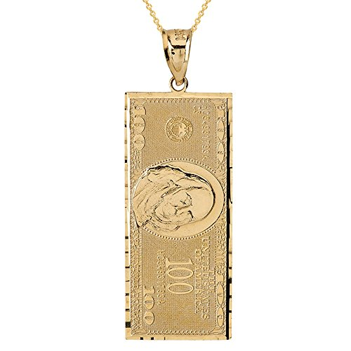 Solid 14k Yellow Gold Hundred $100 Dollar Bill Pendant Necklace (1.55''), 16'' by Hip Hop Jewelry