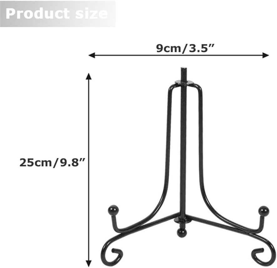 Improved Stop Slip Black Iron Easel Plate Holder Stand for Displaying Pictures 4 Inch Plate Holder Display Stand 2 Pack Plate Stands