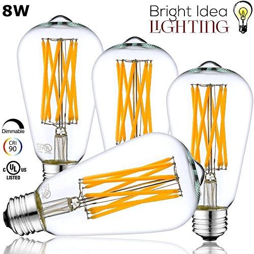 BRIGHT IDEA 8W Edison Vintage LED Bulb, Dimmable, 60-75 Watt Incandescent Replacement, ST64 (ST21) Antique Retro Shape, Warm White Lamp, UL Listed, E26/E27 Medium Base, CRI90, 800LM 2700K - - Glasses Cheap Canada Reading
