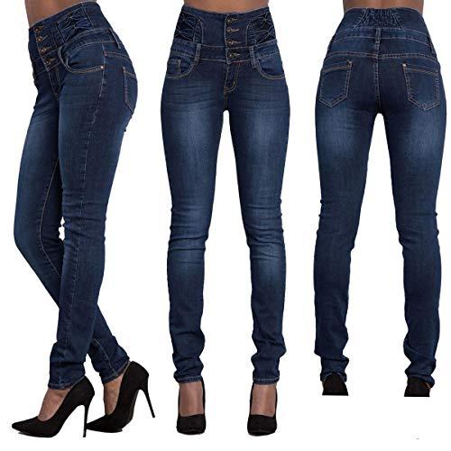 Jeans Pantalons Bleu Mode Taille Longue Pants Denim Crayon Haute Marin Femme Skinny avec Casual Jeune Bouton Apwtqt