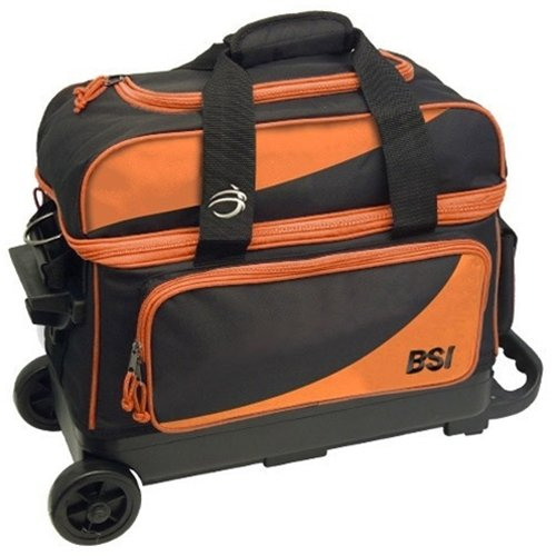 Bowlers Superior Inventory BSI Prestige Double Roller Bowling Bag- Black/Orange () by Bowlers Superior Inventory
