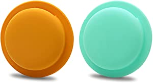 [2 Pack] iDLike for Airtag Case, Soft Silicone Protective Airtag Sticker Skin Holder Accessories Cover Wallet for Apple Airtag, Green/Yellow