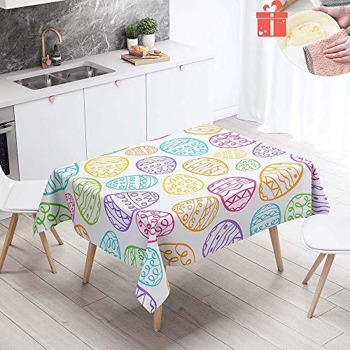 Enhome Mantel Mesa Rectangular Tela, Antimanchas Lavable Square Impresion 3D Poliester Manteles para Cocina o Salon Comedor Decoracion del Mesa (60x60cm,Vida Colorida)