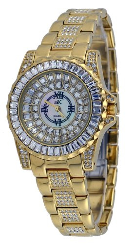 Adee Kaye #AK9-11LG/CR Women's Gold Tone Dazzling Bling Collection Baquette Crystal Accented Watch