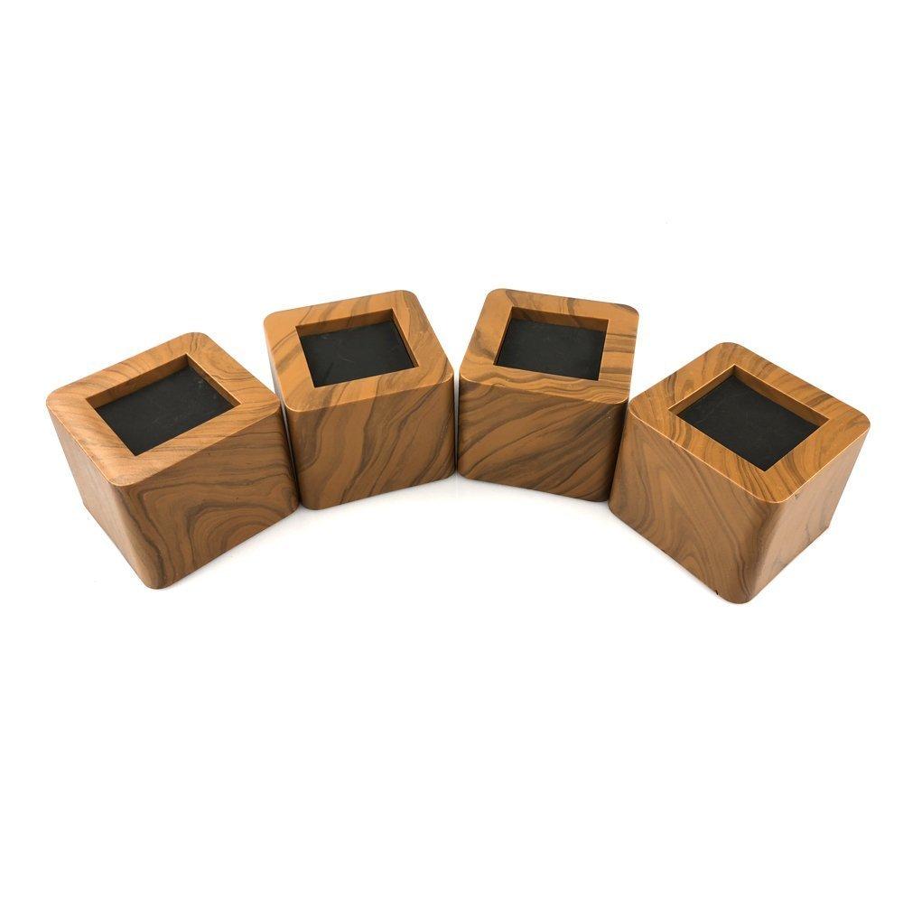 MIIX HOME Bed Risers 3 Inch | Heavy Duty Imitation Wood Design Furniture Riser | 4PCS | (Wood Color Design)