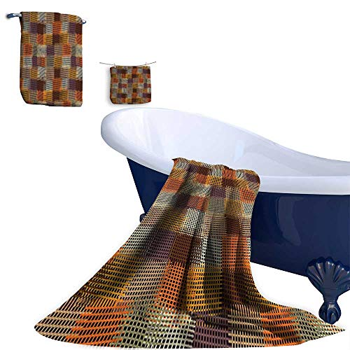 - Home 3 Piece Bath Towel Set, Checkered and Striped Quilt Pattern Digital New Caramel Orange Material - 100% Microfiber,Ideal for Bathroom Office and Gym use.