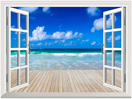 Removable Wall Sticker/Wall Mural - Tropical Sea Under The Blue Sky | Creative Window View Home Decor/Wall Decor - 24