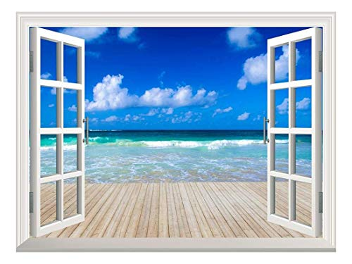 Removable Wall Sticker Wall Mural Tropical Sea Under The Blue Sky Creative Window View Wall Decor