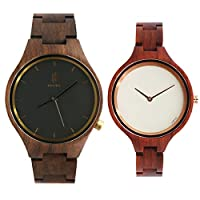 Hstyle Natural Couple Wooden Watches Men and Women Analog Quartz Handmade Sapphire Glass Watches ...