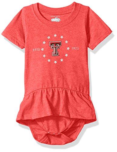 NCAA Texas Tech Red Raiders Children Girls Short Sleeve Ruffle Onesie,6M,Cherry Blend