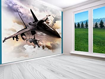 Amazon Com Fighter Jets 3d Estilo Papel Pintado Diseño De Mural De Pared Recámara Aviones Multi Home Improvement