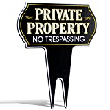 Metal Yard Reflective Private Property No Trespassing Sign | Protect Your Home | Safety & Privacy Warning Sign 15'' High x 12'' Wide