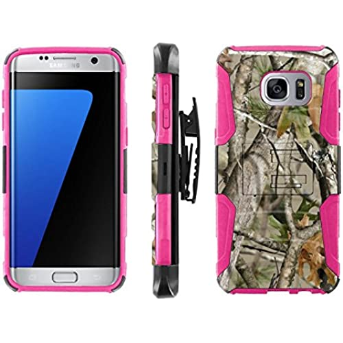 [ArmorXtreme] Case for Samsung Galaxy S7 Edge Black/ Hot Pink [Combat Armor Heavy Duty Case with Holster] - [Tree Camo] Sales