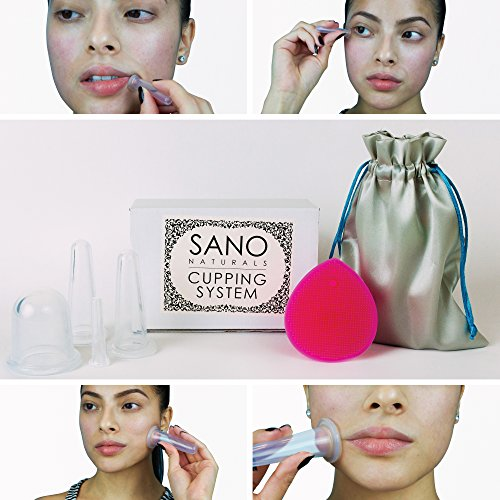 Facial Cupping Set - Natural Anti-aging Facial Massage Silicone Cups by Sano Naturals