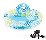 DMGF Kids Swimming Pool 3 Piece Set Inflatable Above Ground Pool Beach Ball Ring Summer Family Padding Pool Child Swim Center With Electric Air Pump For Ages 2+,4Pieces