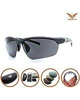 Vogatti Polarized Designer Fashion Sports Sunglasses for Fishing Baseball Golf Running Cycling Ultra Light Glasses (C7 Shiny Carbon Black, Grey PC Polarized with Red Revo)