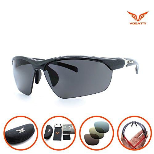 Vogatti Polarized Designer Fashion Sports Sunglasses for Fishing Baseball Golf Running Cycling Ultra Light Glasses (Shiny Carbon Black, Grey PC Polarized with Red - Sunglasses Goodr Running