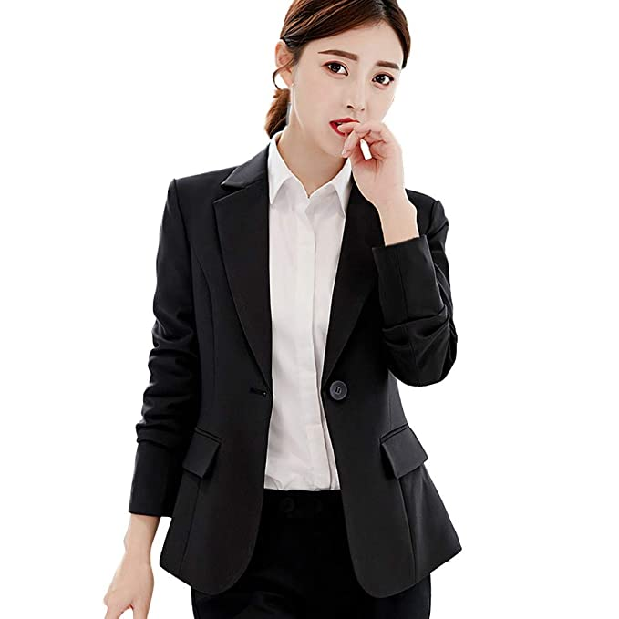 Womens Long Sleeve Slim Suit Blazer Ladies Lapel Coat Jacket Work OL Outerwear