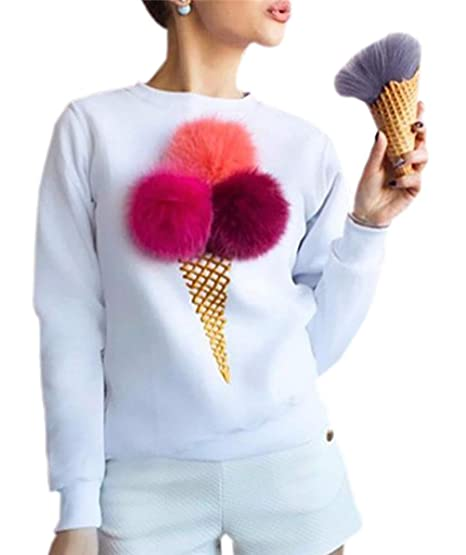 Primavera y Otoño Mujeres Sudaderas Cuello Redondo Tops de Manga Larga Jerséis Sweatshirt Moda Impresión Pulóver
