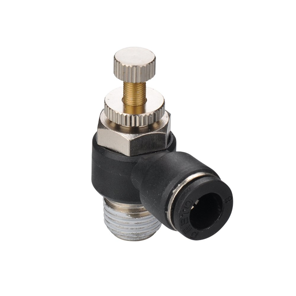 Metalwork Plastic & Brass Flow Control Valve, 90 Degree Elbow With Push to Connect Quick Connector, 1/4'' NPT Male x 1/2'' OD. (Pack of 2)
