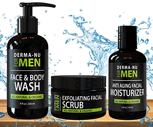 All-In-One Anti Aging Daily Skincare Set for Men – Gentleman's Grooming Kit – Unclogs Pores, Fights Acne and for Ingrown Hair Prevention – 3 Piece Set