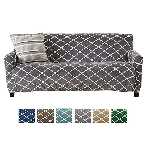 Great Bay Home Modern Velvet Plush Strapless Slipcover. Form Fit Stretch, Stylish Furniture Shield/Protector. Magnolia Collection Strapless Slipcover Brand. (Sofa, Grey) ()